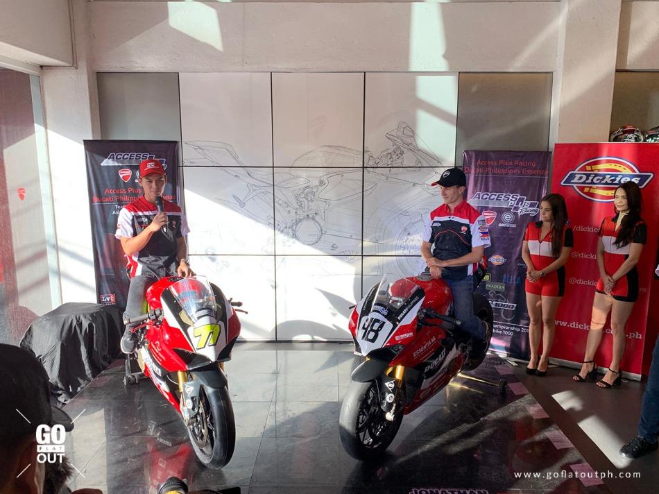 Jonathan Serrapica on the Ducati Panigale V4R racing bike with his co-racer TJ Alberto.
