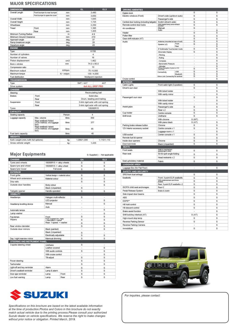 2019 Suzuki Jimny Brochure from Suzuki Philippines