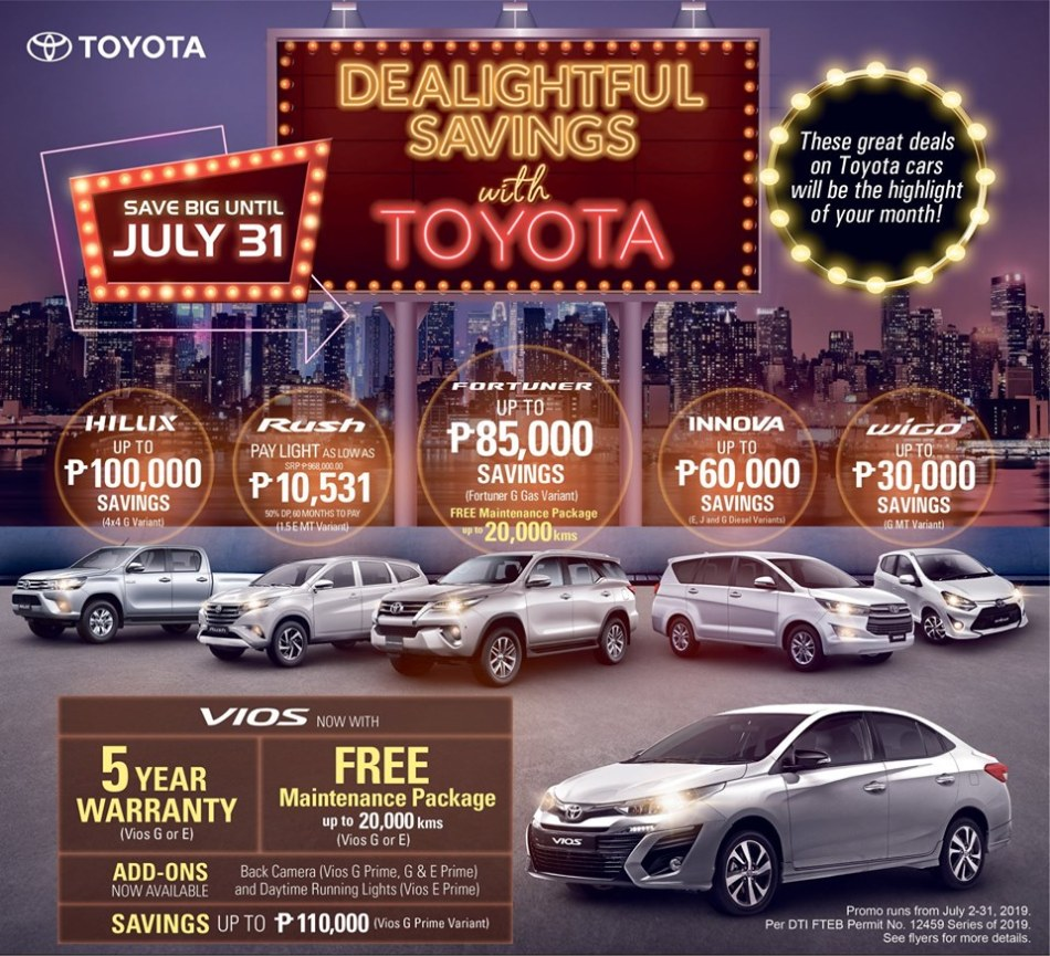Free PMS, 5-Year Extended Warranty, Up To P90K Cash Discount When You Buy A Toyota Vios This July