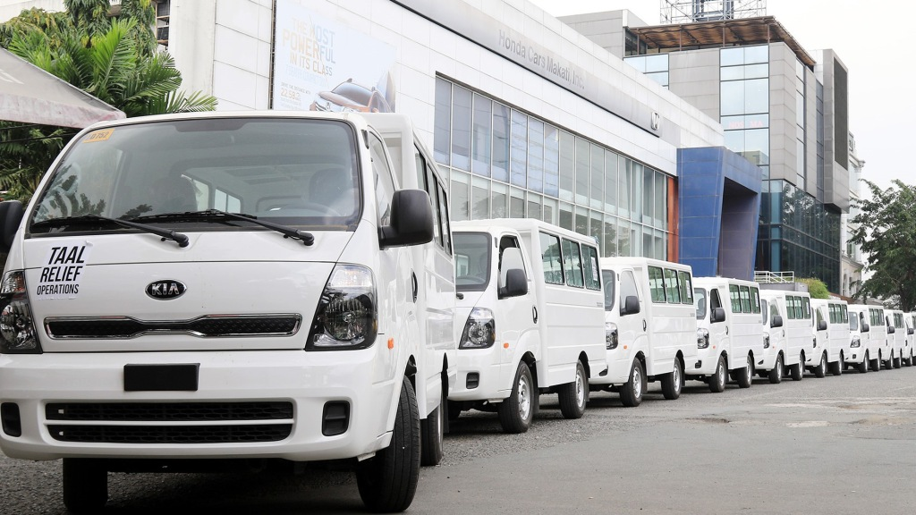 Ayala's AC Motors Donates Ten Units Of Kia K2500 Kargo To Taal Eruption Victims
