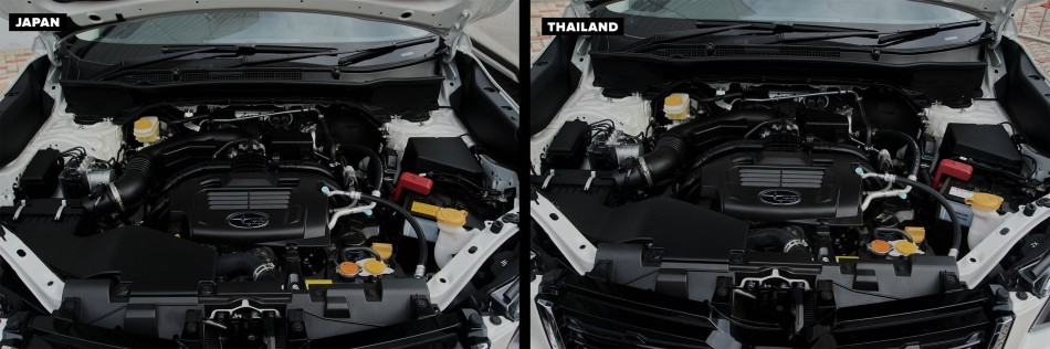 Engine bay of of Thai-Made and Japan-Made Forester