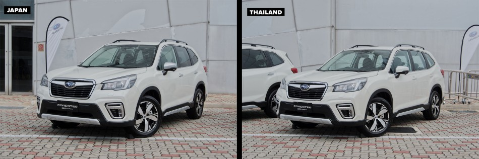 Exterior design of of Thai-Made and Japan-Made Forester