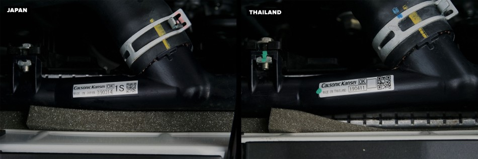 Radiator of of Thai-Made and Japan-Made Forester