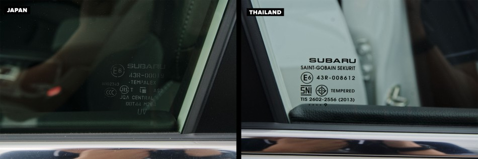 Windows of of Thai-Made and Japan-Made Forester